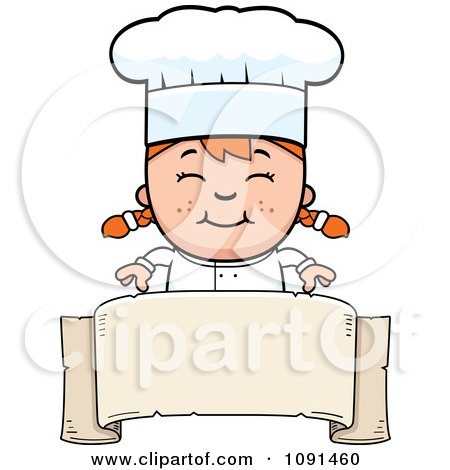 Clipart Happy Chef Girl Over A Blank Banner - Royalty Free Vector Illustration by Cory Thoman