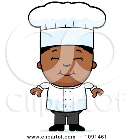 Clipart Happy Black Chef Boy Smiling - Royalty Free Vector Illustration by Cory Thoman