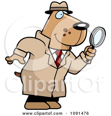Clipart Dog Detective Using A Magnifying Glass - Royalty Free Vector Illustration by Cory Thoman