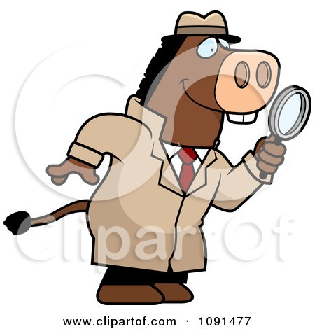 Clipart Donkey Detective Using A Magnifying Glass - Royalty Free Vector Illustration by Cory Thoman