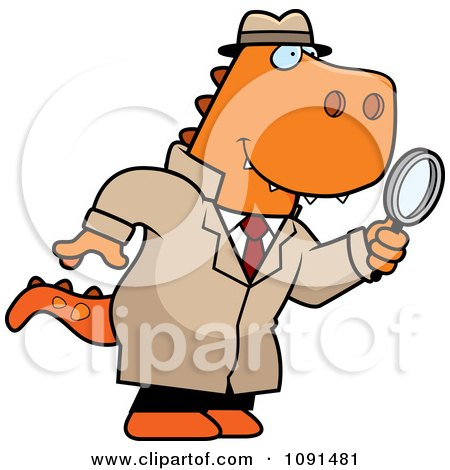 Clipart T Rex Detective Using A Magnifying Glass - Royalty Free Vector Illustration by Cory Thoman