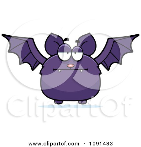 Clipart Bored Purple Bat - Royalty Free Vector Illustration by Cory Thoman