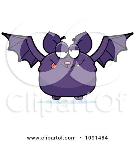 Clipart Drunk Purple Bat - Royalty Free Vector Illustration by Cory Thoman