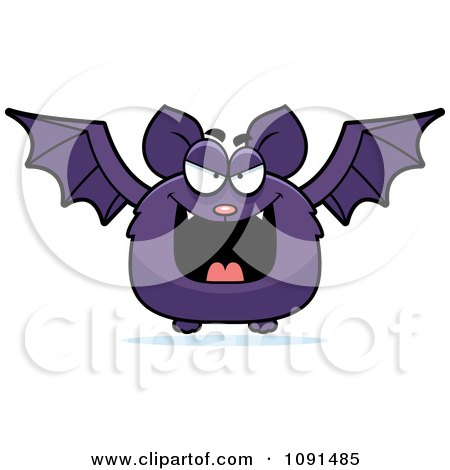 Clipart Evil Purple Bat - Royalty Free Vector Illustration by Cory Thoman