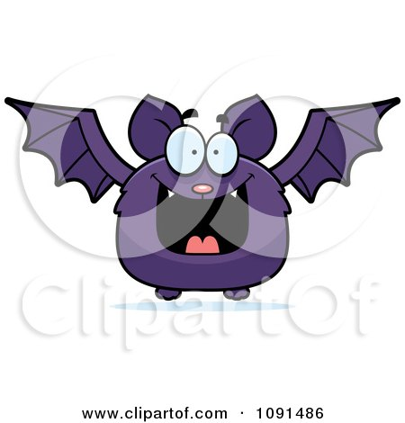 Clipart Happy Purple Bat - Royalty Free Vector Illustration by Cory Thoman