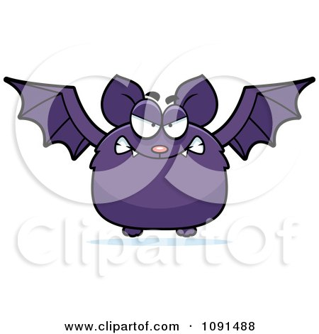 Clipart Mad Purple Bat - Royalty Free Vector Illustration by Cory Thoman