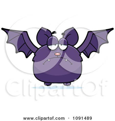 Clipart Depressed Purple Bat - Royalty Free Vector Illustration by Cory Thoman