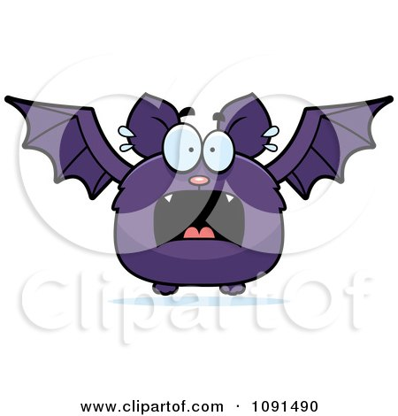 Clipart Scared Purple Bat - Royalty Free Vector Illustration by Cory Thoman