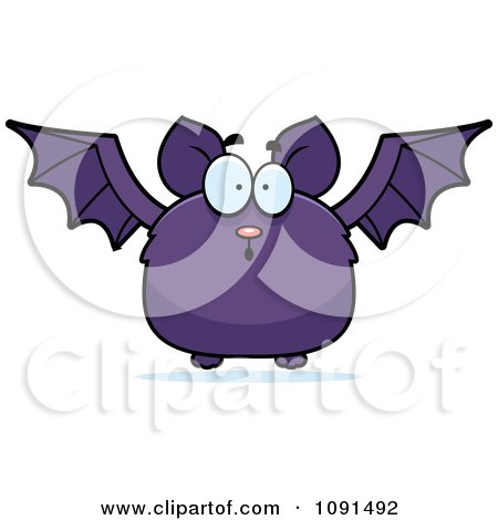 Clipart Surprised Purple Bat - Royalty Free Vector Illustration by Cory Thoman