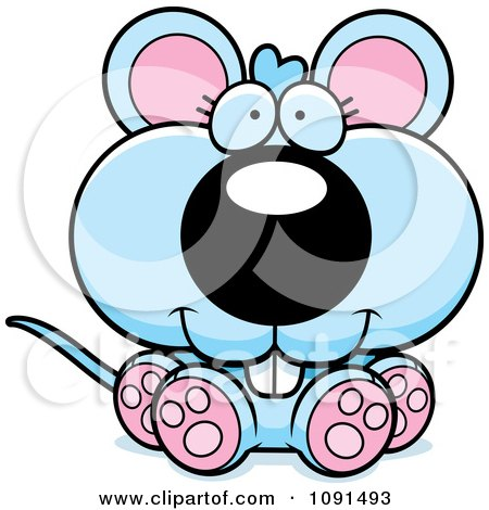 Clipart Cute Sitting Blue Mouse - Royalty Free Vector Illustration by Cory Thoman