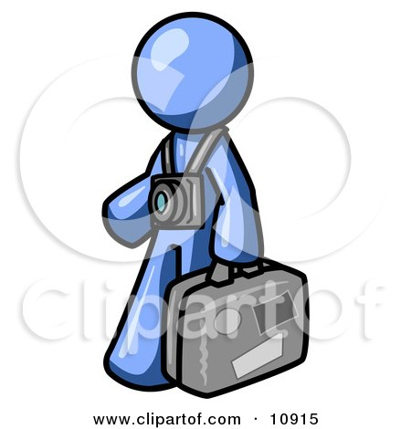 Blue Male Tourist Carrying His Suitcase and Walking With a Camera Around His Neck Clipart Illustration by Leo Blanchette