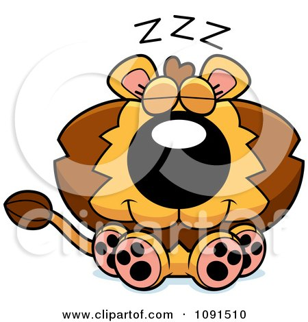 Clipart Cute Napping Lion - Royalty Free Vector Illustration by Cory Thoman