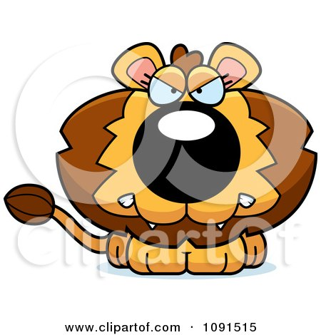 Clipart Cute Mad Lion - Royalty Free Vector Illustration by Cory Thoman