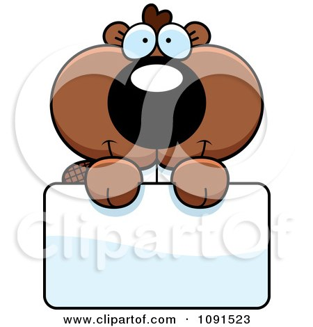 Clipart Cute Beaver Holding A Sign - Royalty Free Vector Illustration by Cory Thoman
