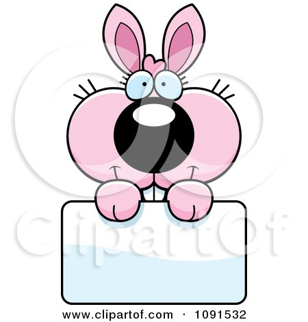 Clipart Cute Pink Bunny Holding A Sign - Royalty Free Vector Illustration by Cory Thoman