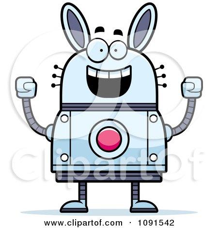 Clipart Cheering Robot Rabbit - Royalty Free Vector Illustration by Cory Thoman