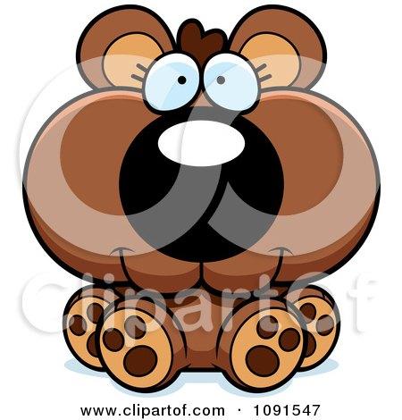 Clipart Cute Sitting Bear Cub - Royalty Free Vector Illustration by Cory Thoman