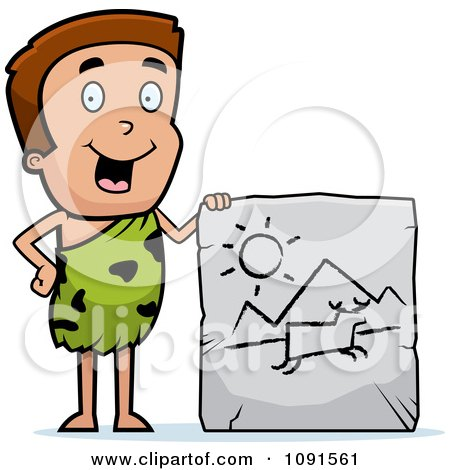Clipart Caveman Boy Displaying A Drawing On A Tablet - Royalty Free Vector Illustration by Cory Thoman