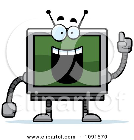 Clipart Smart Screen Robot - Royalty Free Vector Illustration by Cory Thoman