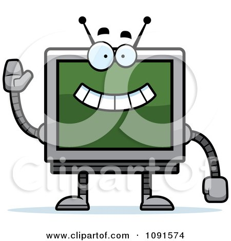 Clipart Waving Screen Robot - Royalty Free Vector Illustration by Cory Thoman