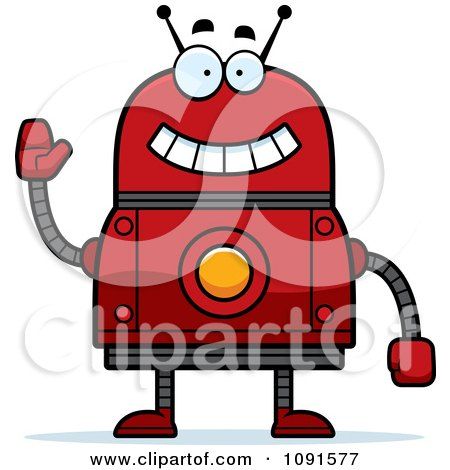 Clipart Waving Red Robot - Royalty Free Vector Illustration by Cory Thoman