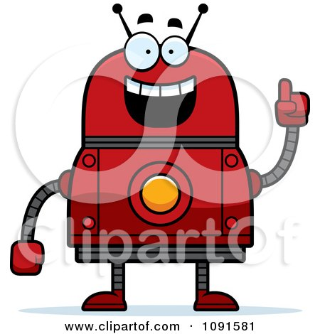 Clipart Smart Red Robot - Royalty Free Vector Illustration by Cory Thoman