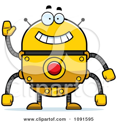 Clipart Waving Golden Robot - Royalty Free Vector Illustration by Cory Thoman