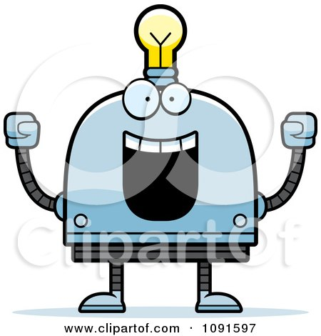 Clipart Cheering Light Bulb Head Robot - Royalty Free Vector Illustration by Cory Thoman