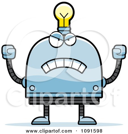 Clipart Mad Light Bulb Head Robot - Royalty Free Vector Illustration by Cory Thoman