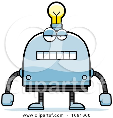 Clipart Bored Light Bulb Head Robot - Royalty Free Vector Illustration by Cory Thoman