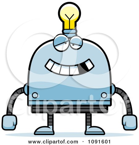 Clipart Dumb Light Bulb Head Robot - Royalty Free Vector Illustration by Cory Thoman