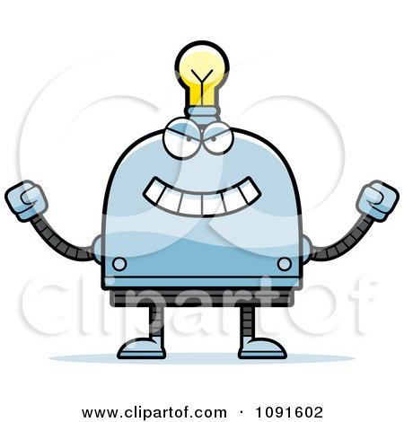Clipart Evil Light Bulb Head Robot - Royalty Free Vector Illustration by Cory Thoman