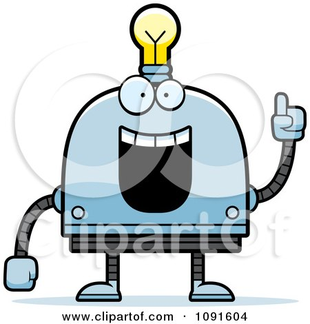 Clipart Creative Light Bulb Head Robot - Royalty Free Vector Illustration by Cory Thoman