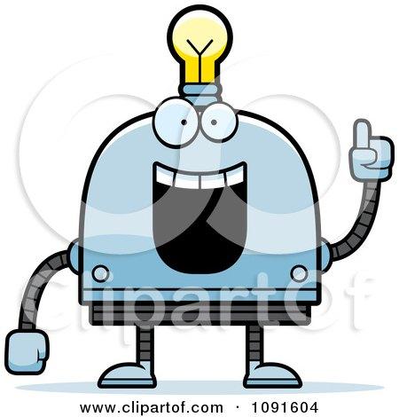 Creative Light Bulb Head Robot Posters, Art Prints