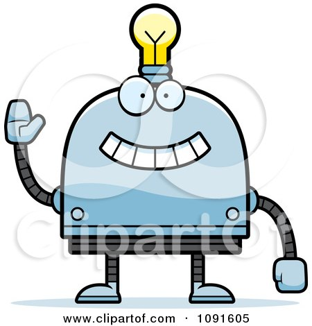 Clipart Waving Light Bulb Head Robot - Royalty Free Vector Illustration by Cory Thoman