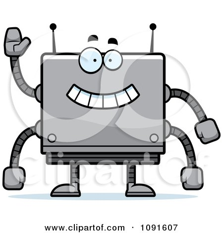 Clipart Waving Box Robot - Royalty Free Vector Illustration by Cory Thoman