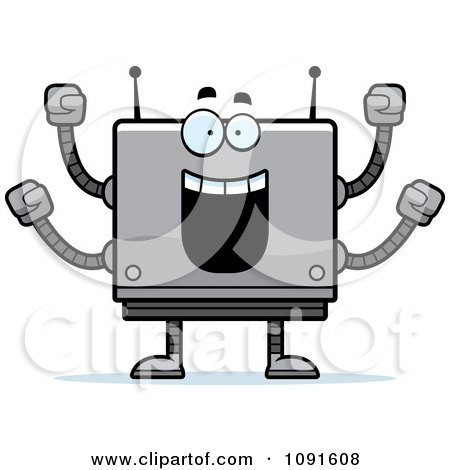 Clipart Cheering Box Robot - Royalty Free Vector Illustration by Cory Thoman