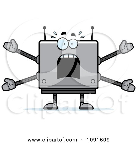 Clipart Scared Box Robot - Royalty Free Vector Illustration by Cory Thoman