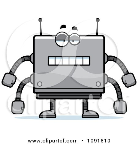 Clipart Bored Box Robot - Royalty Free Vector Illustration by Cory Thoman
