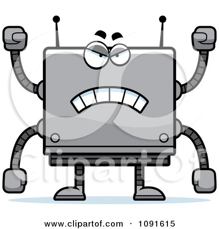 Clipart Mad Box Robot - Royalty Free Vector Illustration by Cory Thoman