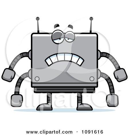Clipart Sad Box Robot - Royalty Free Vector Illustration by Cory Thoman