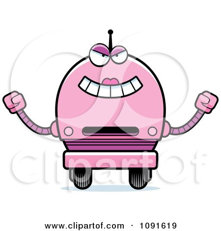 Clipart Evil Pink Robot Girl - Royalty Free Vector Illustration by Cory Thoman