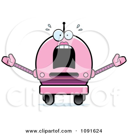 Clipart Scared Pink Robot Girl - Royalty Free Vector Illustration by Cory Thoman