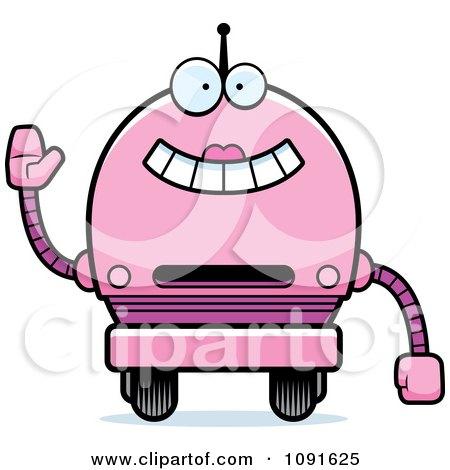 Clipart Waving Pink Robot Girl - Royalty Free Vector Illustration by Cory Thoman