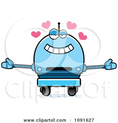 Clipart Loving Blue Robot Boy - Royalty Free Vector Illustration by Cory Thoman