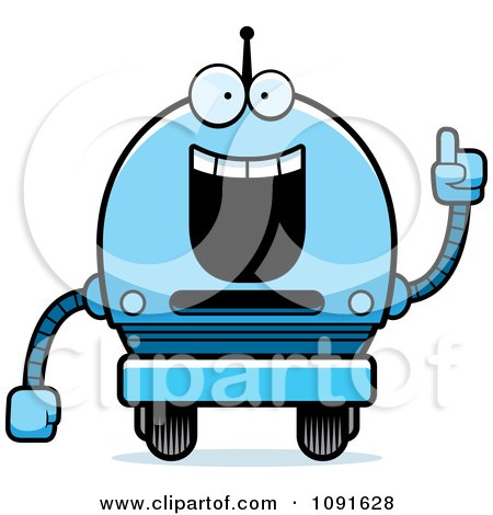 Clipart Smart Blue Robot Boy - Royalty Free Vector Illustration by Cory Thoman