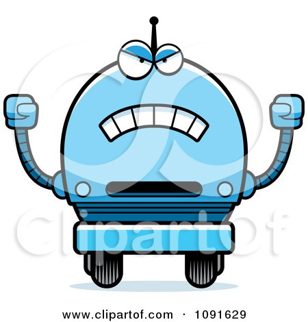 Clipart Mad Blue Robot Boy - Royalty Free Vector Illustration by Cory Thoman