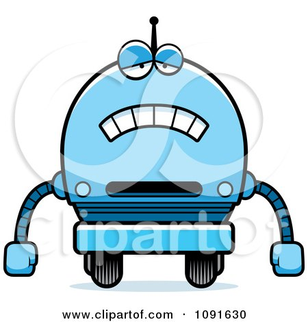 Clipart Sad Blue Robot Boy - Royalty Free Vector Illustration by Cory Thoman