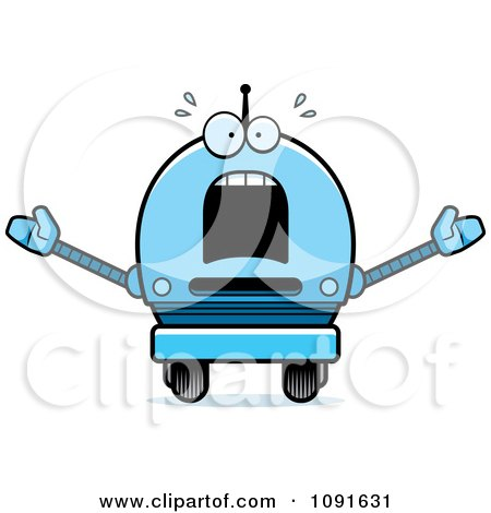 Clipart Scared Blue Robot Boy - Royalty Free Vector Illustration by Cory Thoman