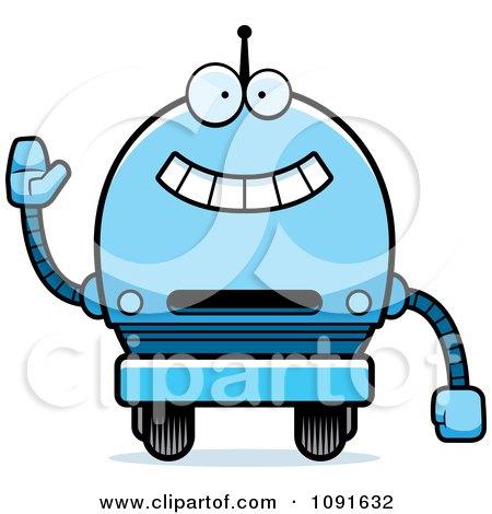 Clipart Waving Blue Robot Boy - Royalty Free Vector Illustration by Cory Thoman